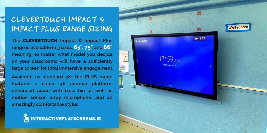Clevertouch Impact Range Size - Irish Schools