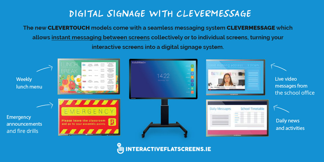 Digital Signage with Clevermessage - Clevertouch for Schools Ireland