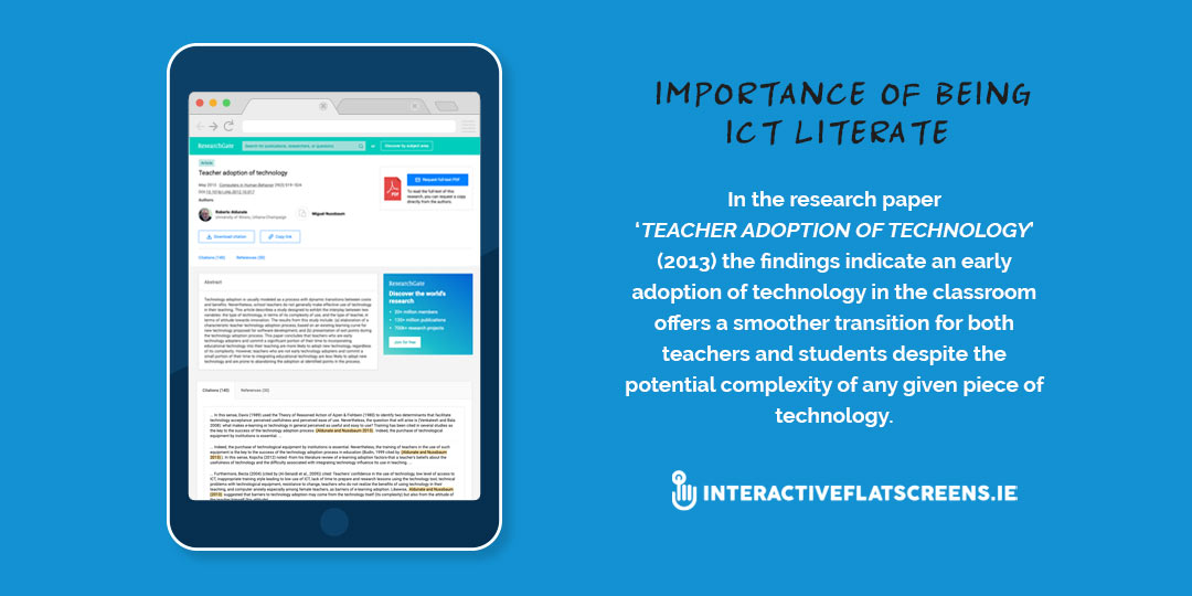 Importance Being ICT LIterate - Teacher Adoption Technology - Interactive Flatscreens Ireland